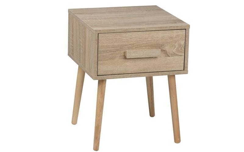 Homestyle Ξύλινο Έπιπλο Κομοδίνο 40x40x51.5cm με 1 Συρτάρι σε Φυσικό χρώμα ξύλου σπίτι   οργάνωση σπιτιού