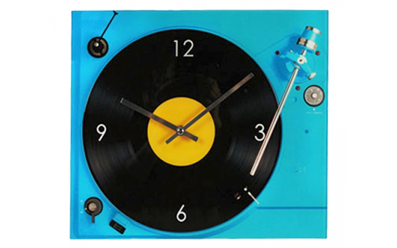 Out of the blue Αναλογικό Γυάλινο Ρολόι Τοίχου 35x30 cm σε σχέδιο Πικάπ σε Μπλε  διακόσμηση   ρολόγια τοίχου