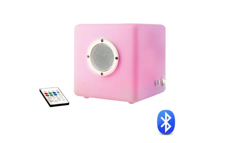 Μοντέρνο Επαναφορτιζόμενο Σκαμπό - Ηχείο Bluetooth σε σχήμα κύβου με φωτισμό LED τεχνολογία   ηχεία