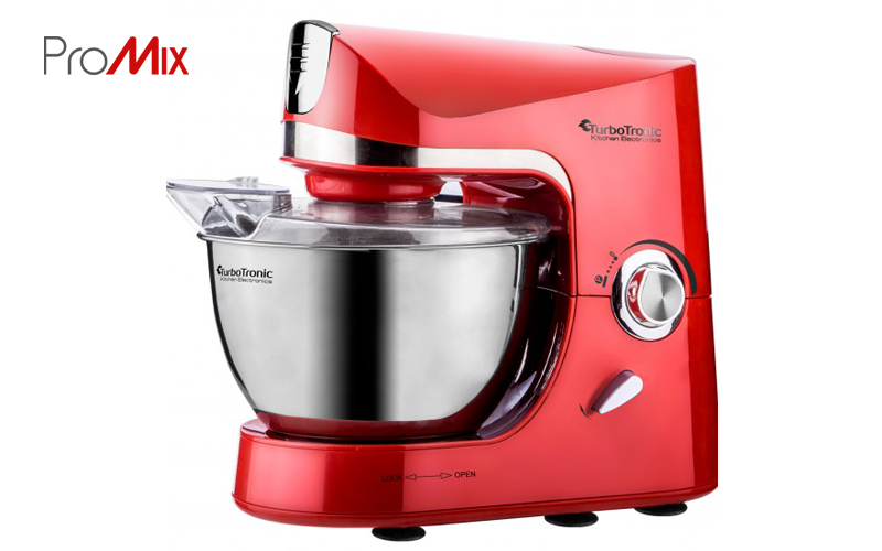 Turbotronic Κουζινομηχανή μίξερ ζαχαροπλαστικής 1500 Watt με κάδο 4,5 λίτρα ανοξείδωτο μπολ και 3 εξαρτήματα Υψηλής Ποιότητας, TT-002 Κόκκινο - TurboTronic