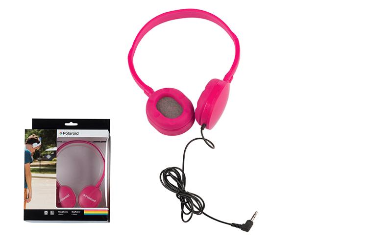 Στερεοφωνικά Ακουστικά Κεφαλής με μαξιλαράκια σιλικόνης σε Φούξια χρώμα, Polaroi τεχνολογία   ακουστικά