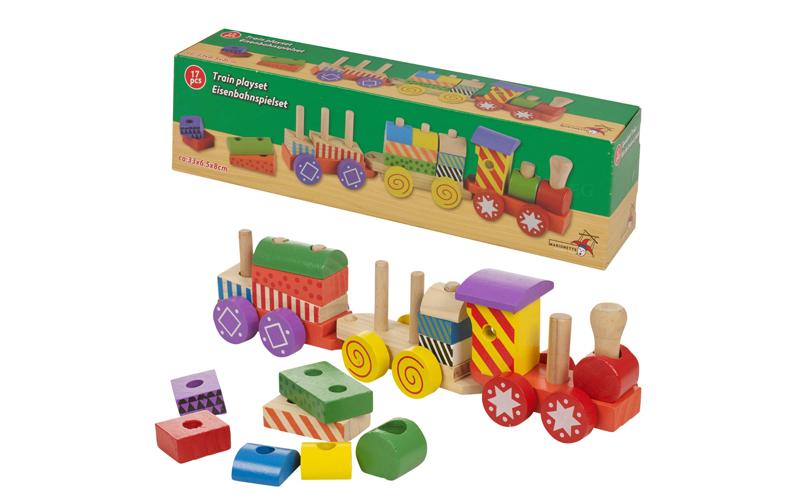 Wooden Toys Ξύλινο Συρόμενο Τρένο Στοίβαξης με Τουβλάκια 17 τεμ. κατάλληλο για π παιχνίδια   εκπαιδευτικά παιχνίδια