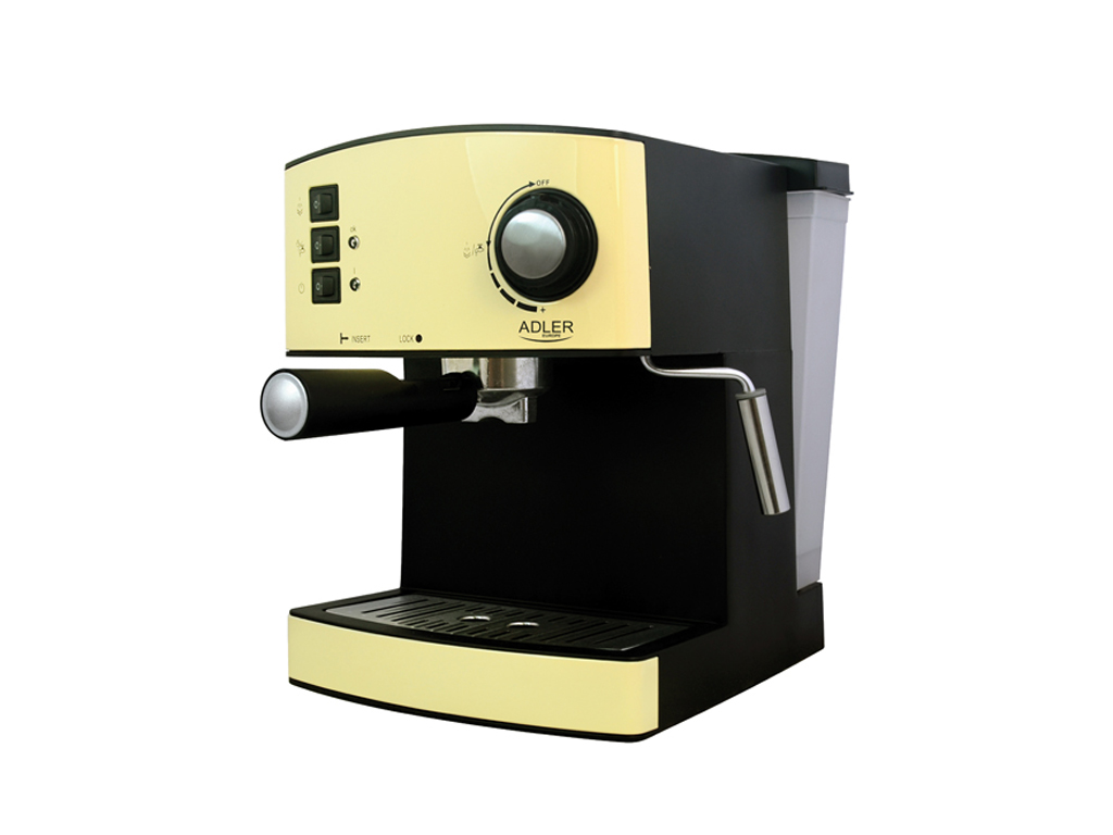 Adler Καφετιέρα Espresso 850W 15bar Πίεσης με Αποσπώμενο Δοχείο 1.6Lt σε Κίτρινο ηλεκτρικές οικιακές συσκευές   καφετιέρες και είδη καφέ