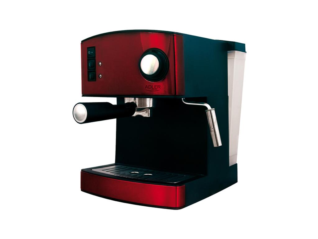Adler Καφετιέρα Espresso 850W 15bar Πίεσης με Αποσπώμενο Δοχείο 1.6Lt σε Κόκκινο ηλεκτρικές οικιακές συσκευές   καφετιέρες και είδη καφέ