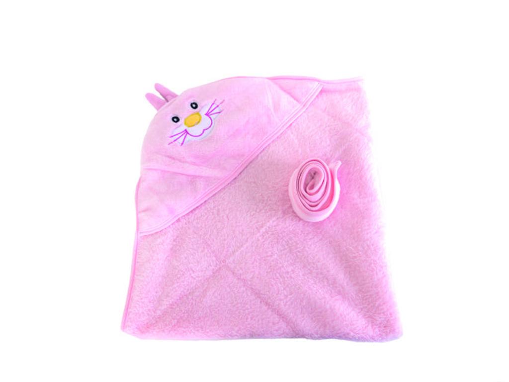 Βρεφικό Μαλακό Μπουρνούζι Μπάνιου με Κουκούλα για Μωρά με θέμα Κουνελάκι σε Ροζ  για μωρά   βρεφική φροντίδα