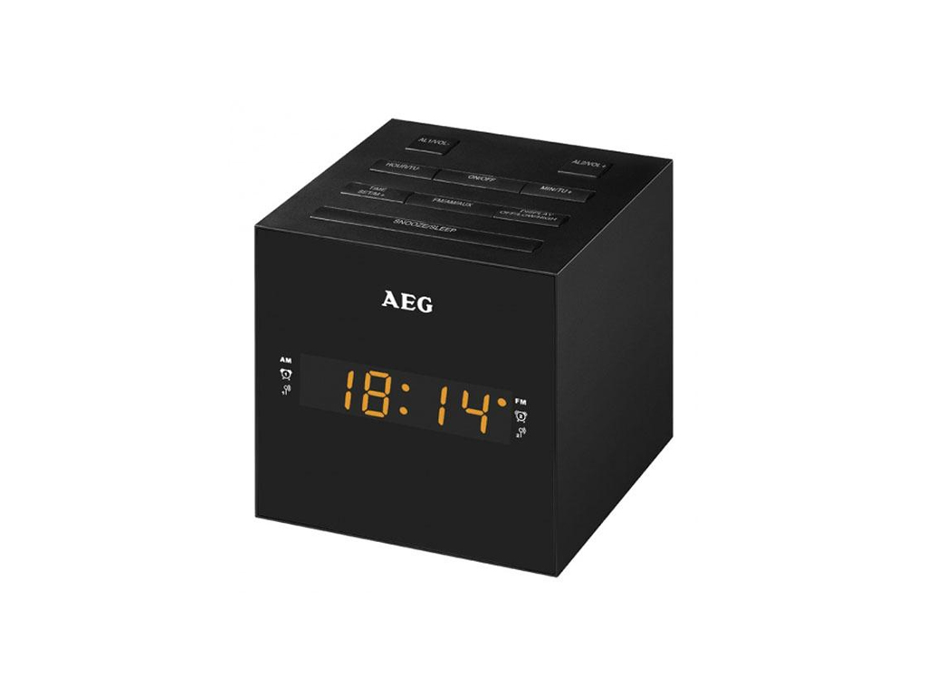 AEG Ραδιο-ξυπνητήρι USB/AUX-IN με Οθόνη LED Καθρέφτη σε Μαύρο χρώμα και Σχήμα Κύ τεχνολογία   gadgets