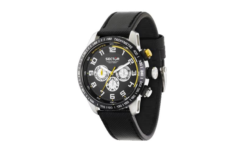 Sector R3251575001 Ανδρικό Ρολόι Multifunction 850 Racing Black Dial Black Leath ρολόγια χειρός   ανδρικά ρολόγια χειρός