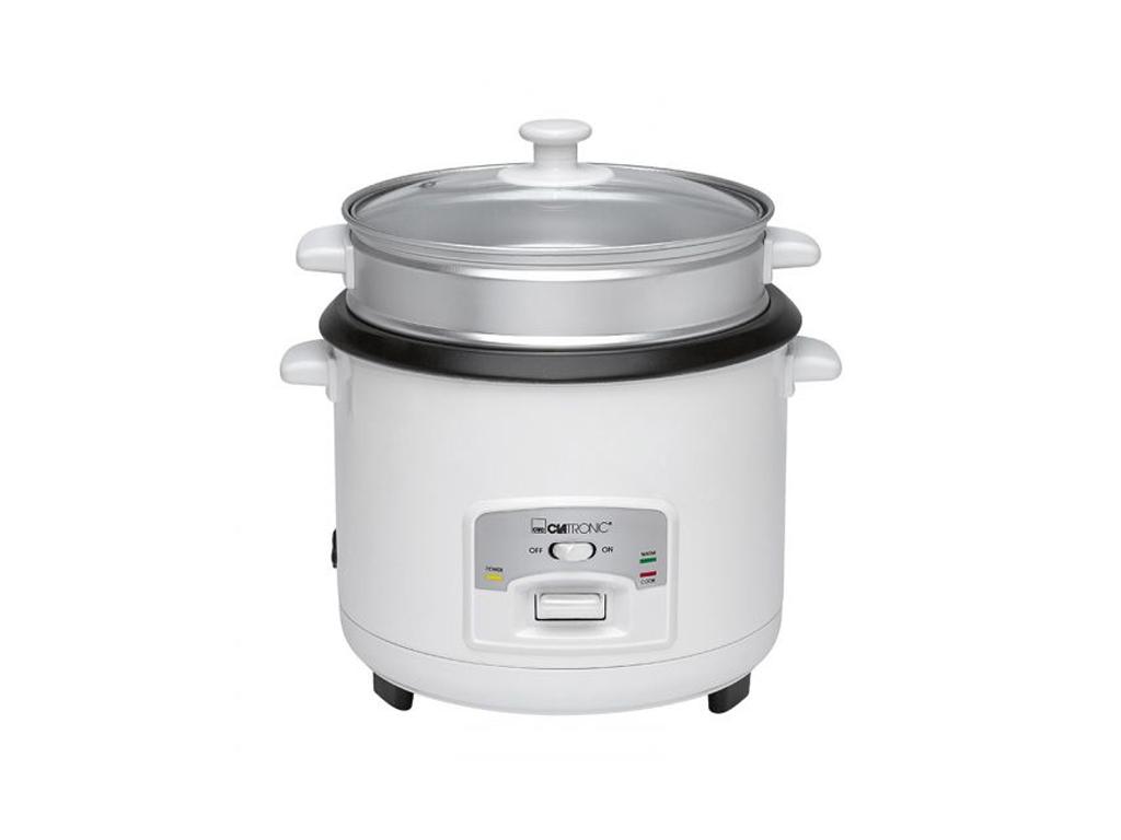 Clatronic Ατμομάγειρας – Παρασκευαστής ρυζιού 2.5Kg 700W με Εξωτερικό Καλάθι Αλουμινίου και Γυάλινο Καπάκι με τρύπα εκτόνωσης – CLATRONIC
