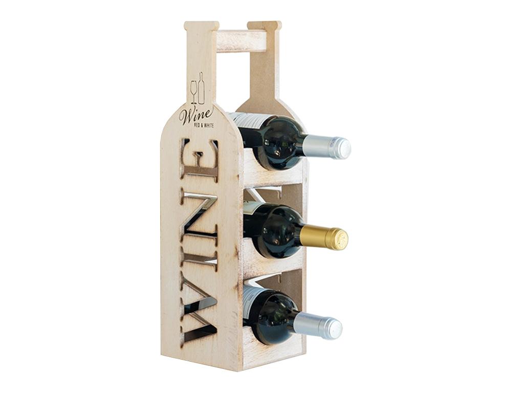 Ξύλινη Vintage Μπουκαλοθήκη Βάση Κρασιών - Κάβα Κρασιών για 3 Μπουκάλια Κρασιού  για την κουζίνα   διάφορα κουζίνας
