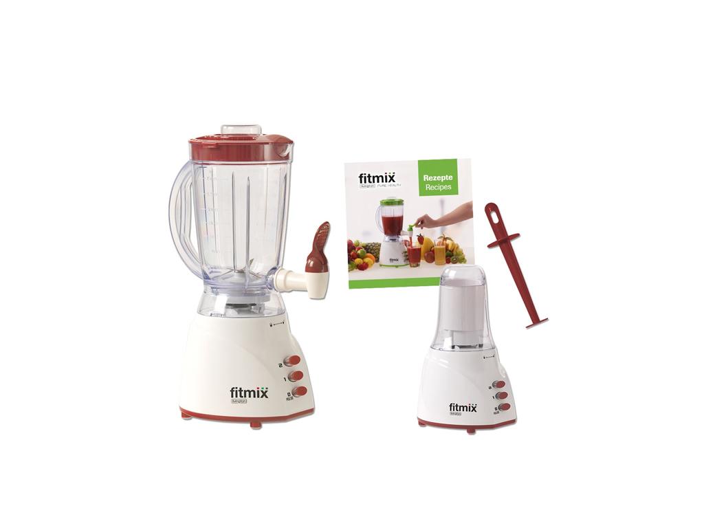 Livington Fitmix FIB002 Μπλέντερ (Blender) 2σε1 600W Χωρητικότητας 1.5Lt με 2 Ταχύτητες και Μύλο 0.35Lt για άλεσμα καφέ σε Λευκό/Κόκκινο χρώμα – Livington