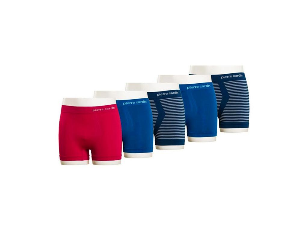 Pierre Cardin Σετ 5 Ανδρικά Εσώρουχα Μποξεράκια Πακέτο 5 τεμ. Boxers 5-pack που αποτελείται από 2 Μπλε Navy με λευκές ρίγες, 2 Μπλε ρουά και 1 Κόκκινο - Pierre Cardin