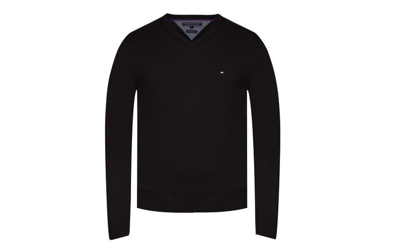 Tommy Hilfiger Ανδρική Μπλούζα μακρυμάνικη με V λαιμόκοψη και λογότυπο σε Μαύρο  ανδρική ένδυση   ανδρικές μπλούζες