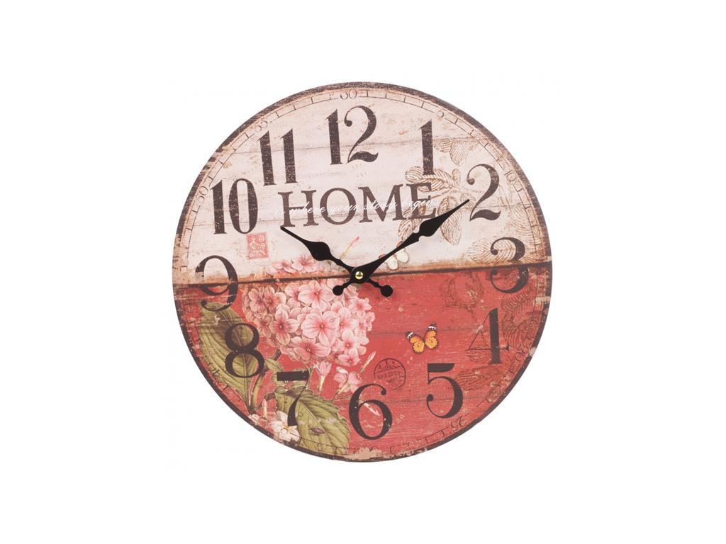 Αναλογικό Vintage Ξύλινο Ρολόι Τοίχου 34cm με μαύρους δείκτες και Θέμα Floral Ho διακόσμηση και φωτισμός   ρολόγια τοίχου  επιτραπέζια και επιδαπέδια ρολόγια