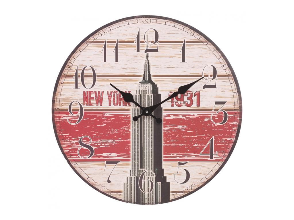 Αναλογικό Vintage Ξύλινο Ρολόι Τοίχου 34cm με μαύρους δείκτες και Θέμα New York, 22532 - Cb