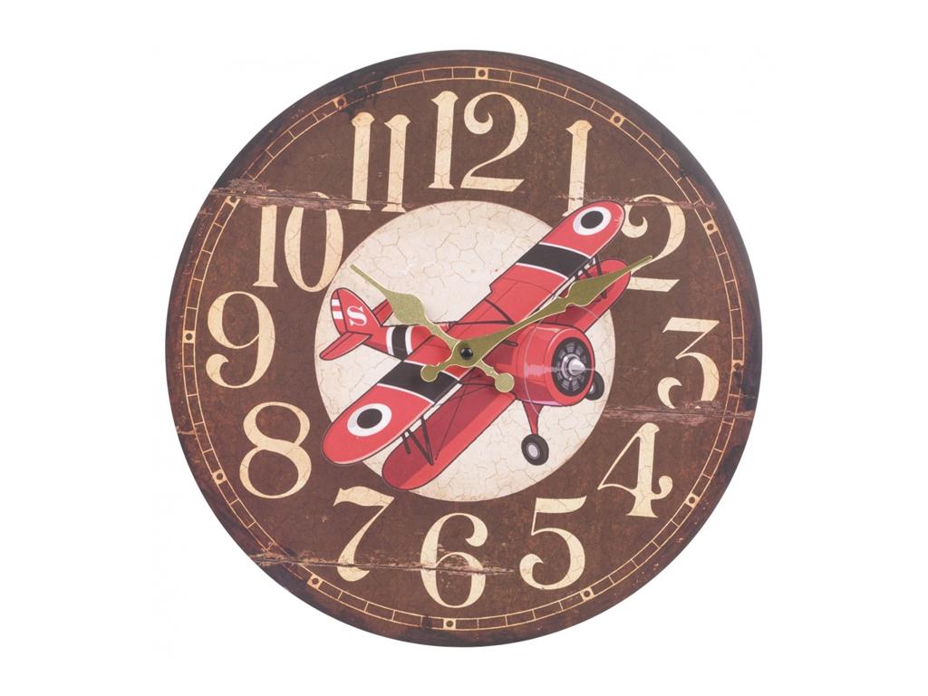 Αναλογικό Vintage Ξύλινο Ρολόι Τοίχου 34cm με μαύρους δείκτες και Θέμα Vintage Α διακόσμηση   ρολόγια τοίχου