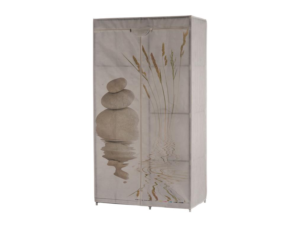 Διπλή Φορητή Υφασμάτινη Ντουλάπα 88x45x160 cm με Μεταλλικό Σκελετό και Απεικόνισ οργάνωση σπιτιού   ντουλάπες