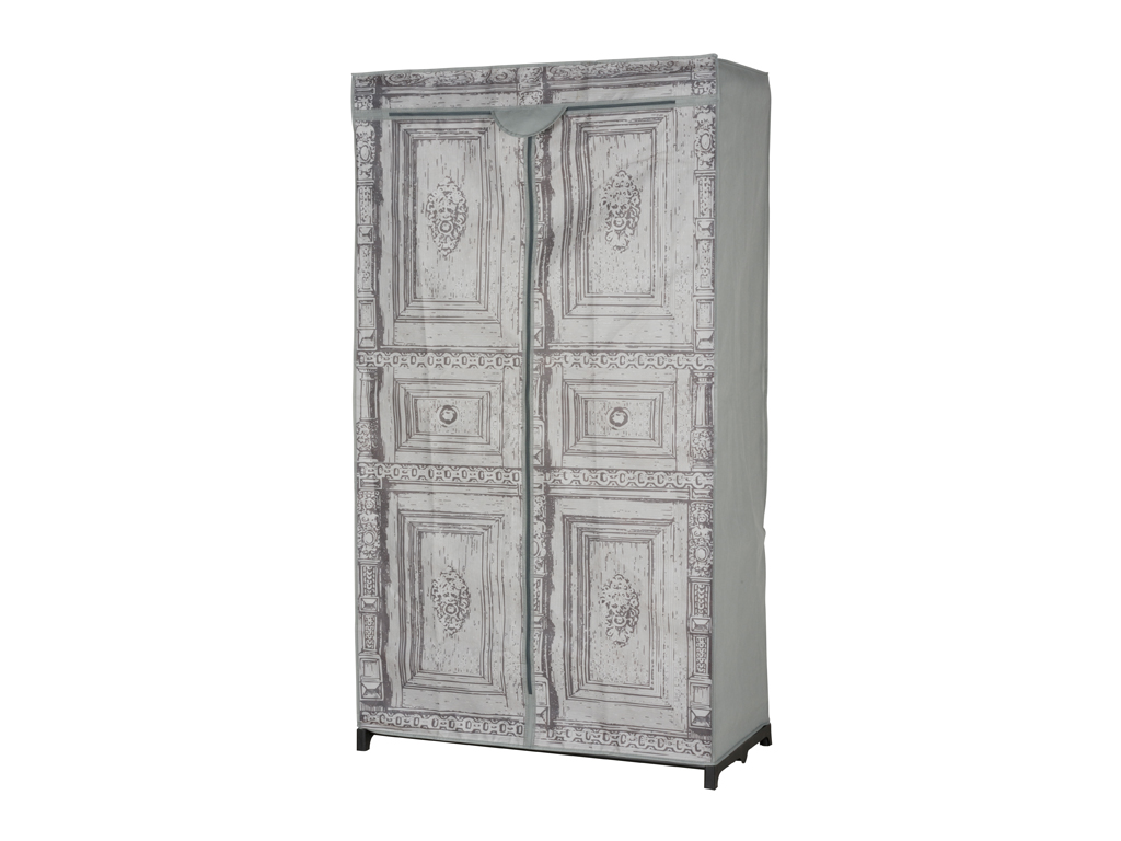 Διπλή Φορητή Υφασμάτινη Ντουλάπα 87x45x156 cm με Μεταλλικό Σκελετό και Απεικόνισ οργάνωση σπιτιού   ντουλάπες