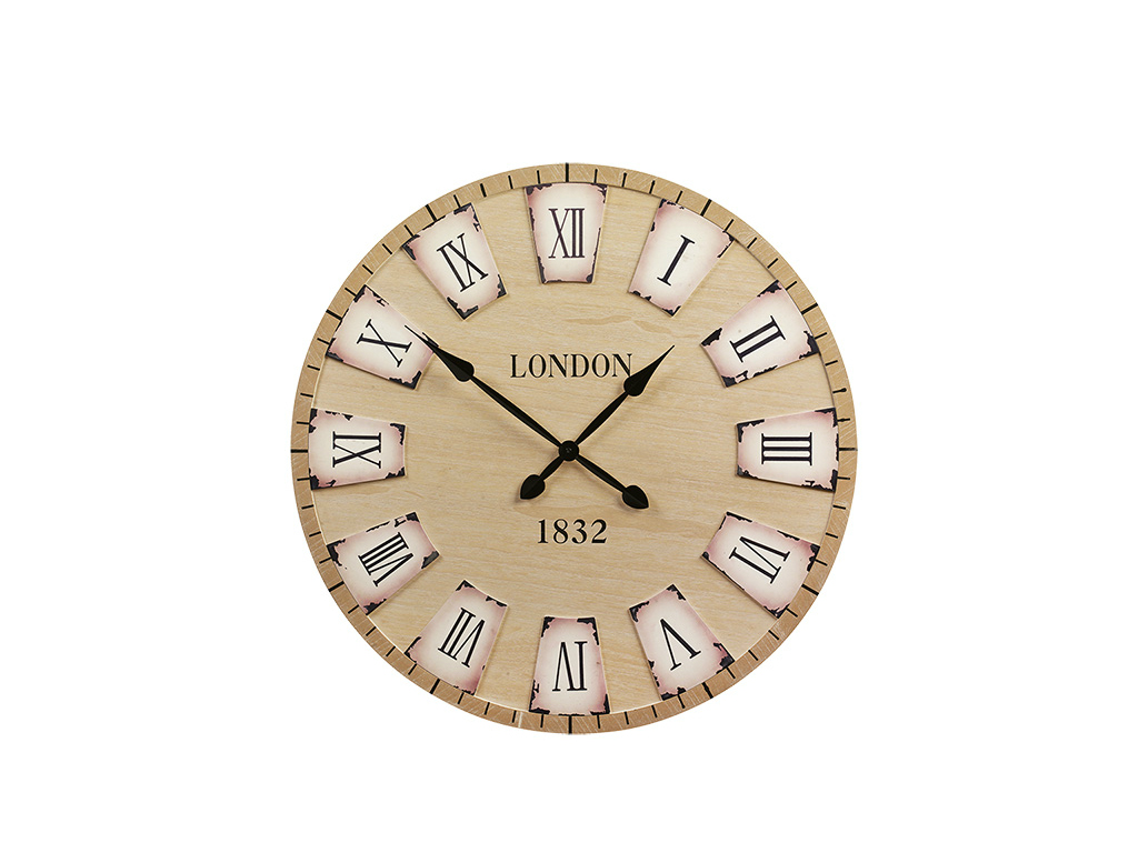Arti Casa 90750 Αναλογικό Vintage Ξύλινο Ρολόι Τοίχου ΓΙΓΑΣ 79cm με μαύρους δείκ διακόσμηση   ρολόι τοίχου