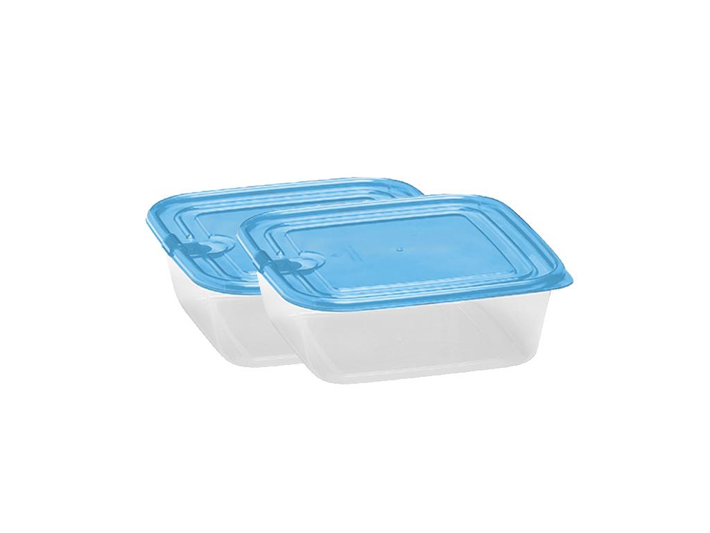 Fresh & Cold 97477 Σετ 4 τεμ. Πλαστικά Τάπερ-Φαγητοδοχεία 680ml χωρητικότητας με Καπάκι ασφαλείας Χρώμα Μπλε - Fresh & Cold