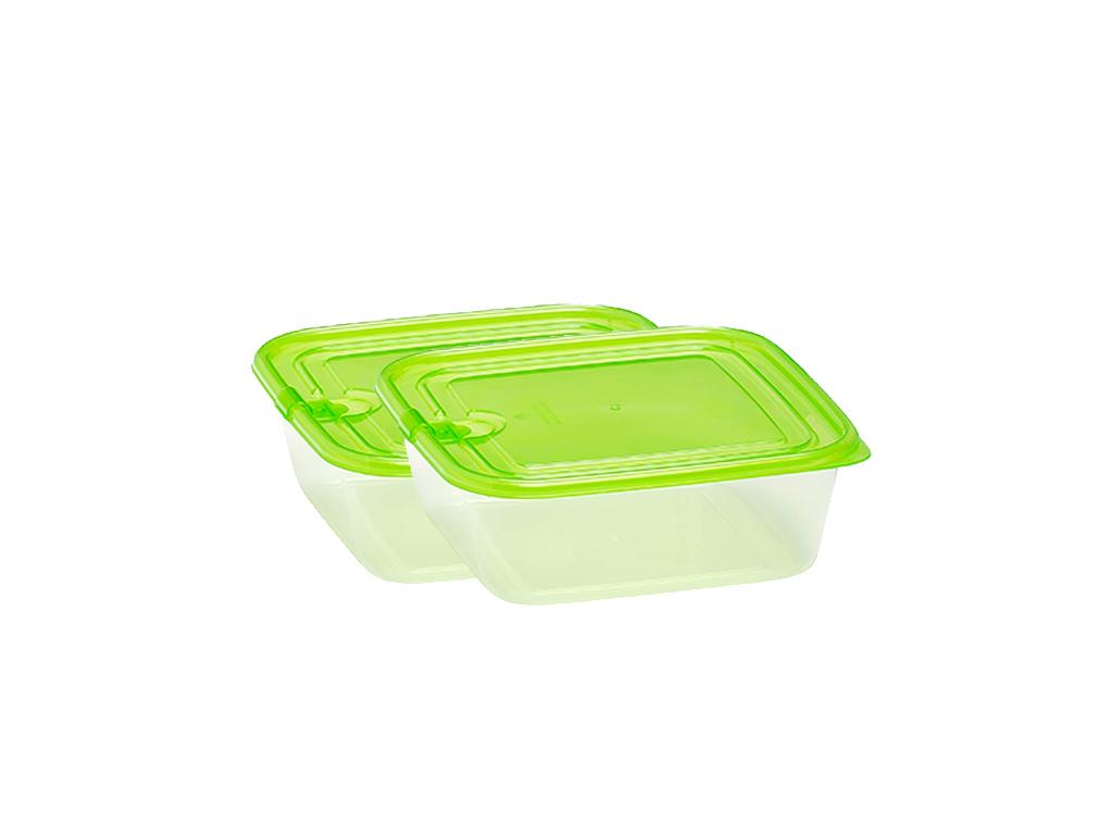 Fresh & Cold 97477 Σετ 4 τεμ. Πλαστικά Τάπερ-Φαγητοδοχεία 680ml χωρητικότητας με Καπάκι ασφαλείας Χρώμα Πράσινο - Fresh & Cold