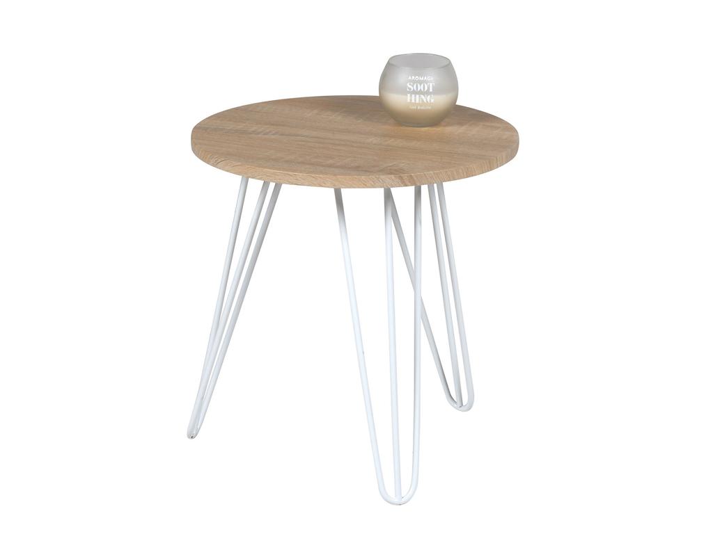 Homestyle Ξύλινο Πρακτικό Έπιπλο Στρογγυλό Τραπεζάκι 40x40x42cm με Λευκά πόδια,  έπιπλα   τραπέζια και καρέκλες
