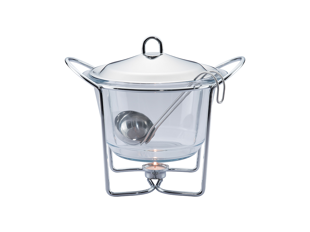 Berlinger Haus Γυάλινο Πυρίμαχο Σκεύος 4Lt Σούπας Μπεν Μαρί Glass Food Warmer με σερβίρισμα   δίσκοι  πιατέλες και ορντεβιέρες