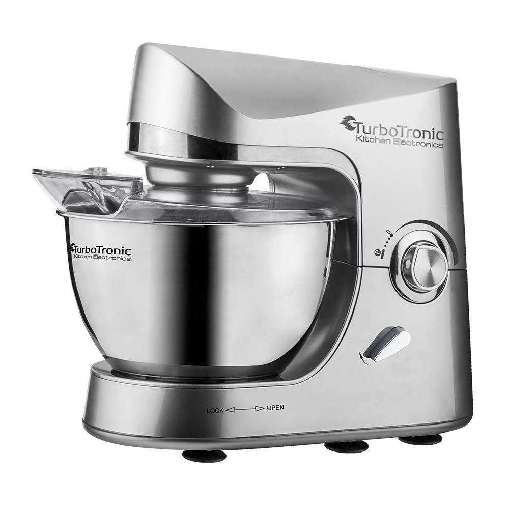 TurboTronic Κουζινομηχανή – Μίξερ 1500 Watt με Κάδο 3lt και τρία εξαρτήματα Υψηλής Ποιότητας, TT-002 Ασημί – TURBO TRONIC
