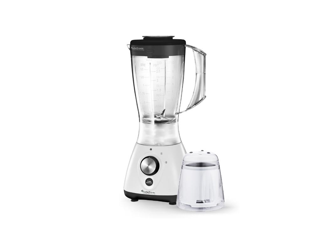 TurboTronic Έξυπνος Πολυκόφτης Μπλέντερ (Blender) 800W για Smoothies με Πλαστικό δοχείο 1,5Lt & Μύλο για Άλεσμα καφέ, TT-BG2 Μαύρο-Λευκό – TURBO TRONIC