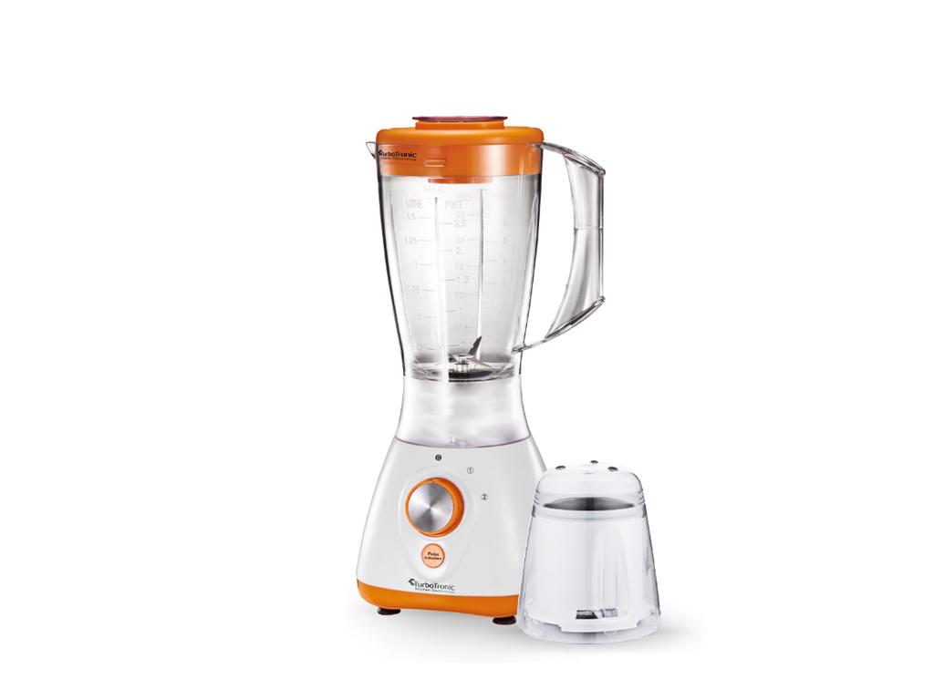TurboTronic Έξυπνος Πολυκόφτης Μπλέντερ (Blender) 800W για Smoothies με Πλαστικό δοχείο 1,5Lt & Μύλο για Άλεσμα καφέ, TT-BG2 Λευκό-Πορτοκαλί – TURBO TRONIC