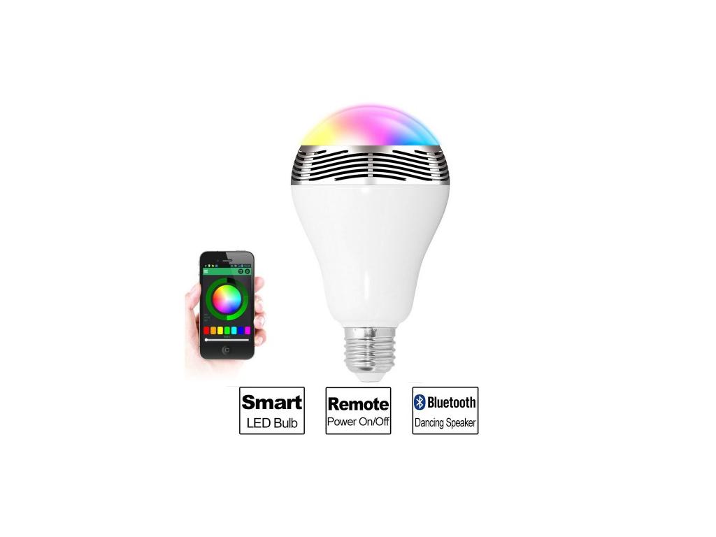 Έξυπνος Λαμπτήρας Ε27 6W με Bluetooth Ηχείο - Smart Led Bulb με Εναλλαγή 7 χρωμά τεχνολογία   ηχεία