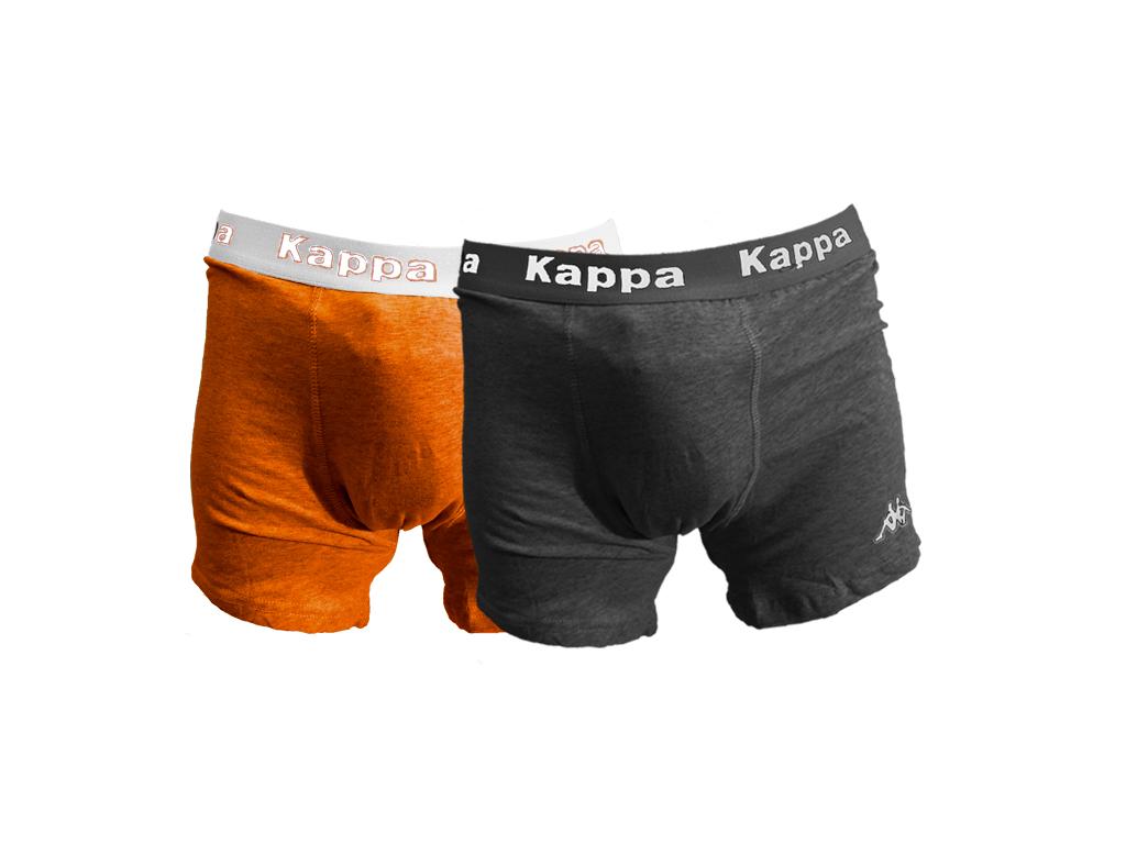 Kappa 931 Σετ των 2 Ανδρικά Μποξεράκια - Boxer σε Γκρι σκούρο και Πορτοκαλί χρώμ άνδρας   εσώρουχα
