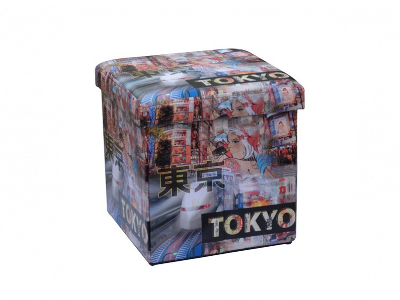 Homa 267 Σκαμπό Πτυσσόμενο με Αποθηκευτικό Χώρο με θέμα Tokyo 38x38x38cm - Homa έπιπλα   πουφ και σκαμπό