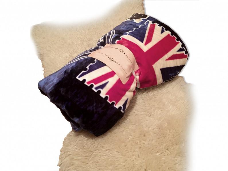 Μαλακή και Ζεστή Διπλή Κουβέρτα fleece 200x230 cm σε Μπλε χρώμα με Θέμα Λονδίνο  λευκά είδη   χαλιά και κουβέρτες