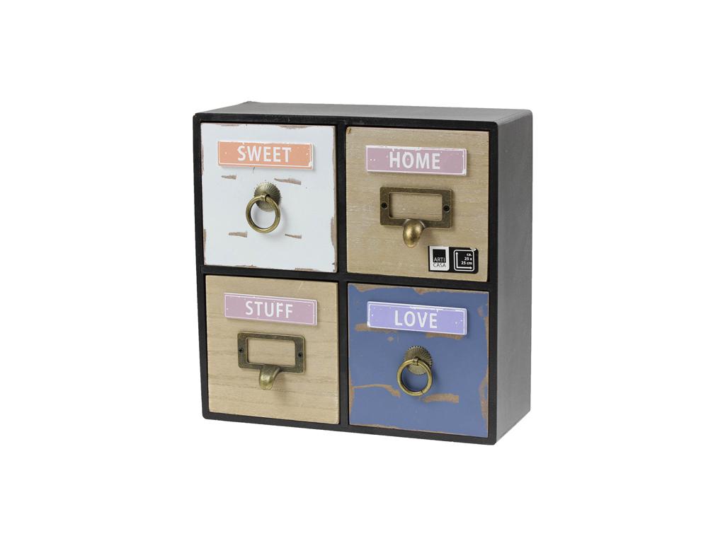 Arti Casa Ξύλινη vintage σύνθεση με 4 συρτάρια 25x10x25cm με αποθηκευτικούς χώρο σπίτι και κήπος   οργάνωση σπιτιού