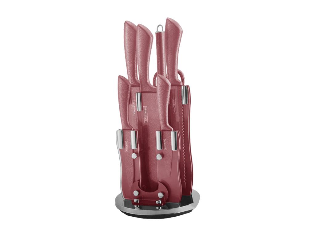 Επαγγελματικά μαχαίρια κουζίνας Royalty Line σετ απο Ανοξείδωτο ατσάλι 8 τεμαχίων με Αντικολλητική Αντιβακτηριδιακή επίστρωση, Αντιολισθητικές λαβές σε Ακρυλική Βάση και Κόκκινο χρώμα, RL-KSS8-RED - Royalty Line Switzerland