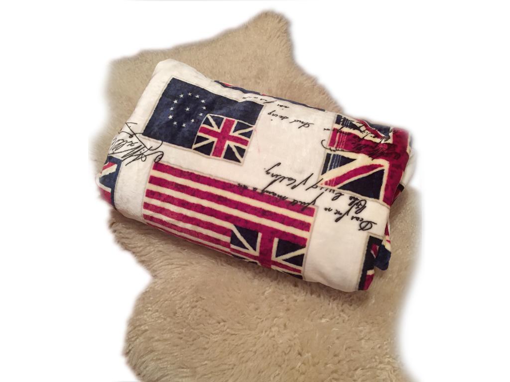 Μαλακή και Ζεστή Διπλή Κουβέρτα fleece 200x230 cm σε Λευκό χρώμα με Θέμα Λονδίνο λευκά είδη   χαλιά και κουβέρτες