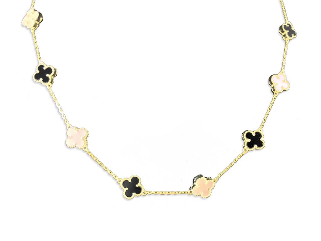 Γυναικείο κολιέ 20cm από Ασήμι 925 σε Χρυσό χρώμα με 8 Σταυρούς Μαύρο και Ροζ  O γυναικεία αξεσουάρ και κοσμήματα  κολιέ