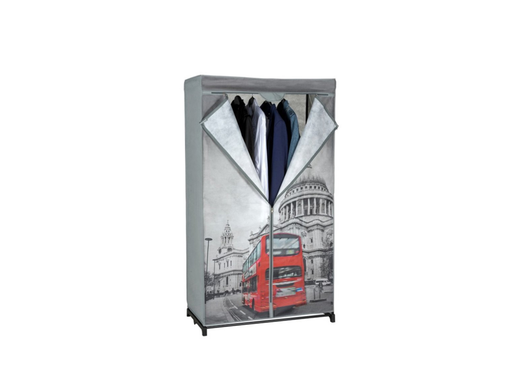 Διπλή Ντουλάπα υφασμάτινη με θέμα Λονδίνο 87x45x156cm, 03104 - Cb οργάνωση σπιτιού   ντουλάπες