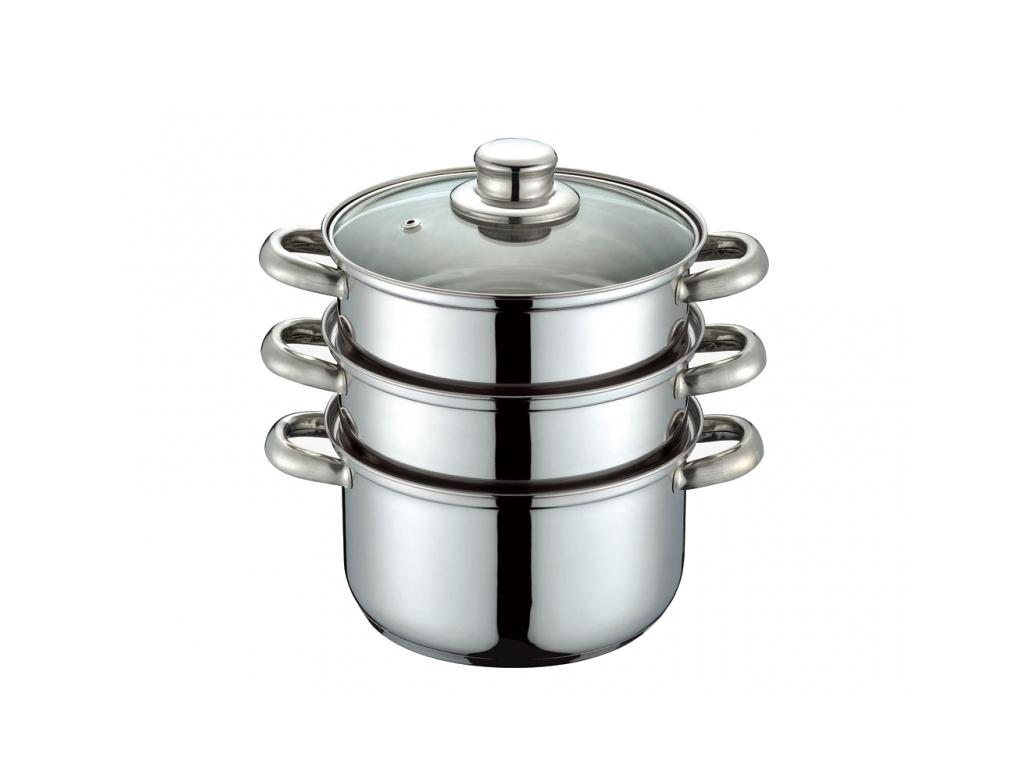 Peterhof Ατμομάγειρας από Ανοξείδωτο ατσάλι 18cm με Γυάλινο καπάκι και 3πλο πάτο για την κουζίνα   συσκευές υγιεινής μαγειρικής