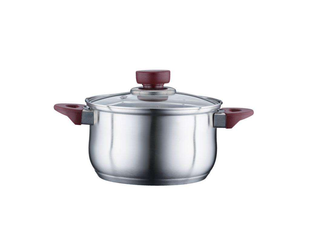 Peterhof Κατσαρόλα 24cm από Ανοξείδωτο ατσάλι με Γυάλινο καπάκι και πάτο Inducti μαγειρικά σκεύη   κατσαρόλες