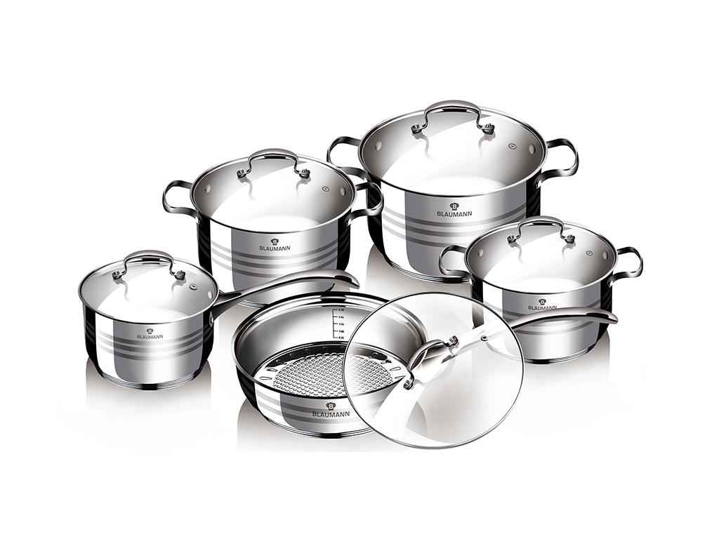Blaumann Σετ Jumbo Μαγειρικά Σκεύη 10 τεμ. από Ανοξείδωτο Ατσάλι με πάτο Inducti σκεύη μαγειρικής   σετ μαγειρικών σκευών