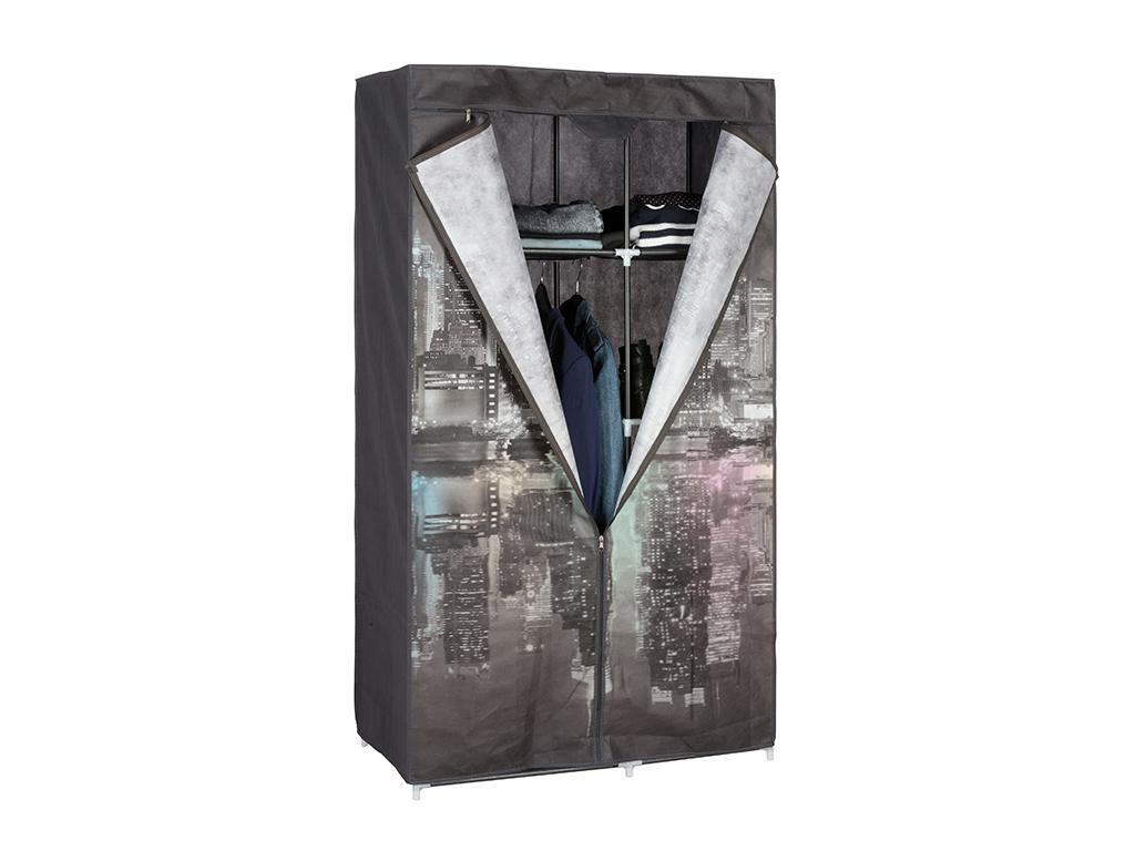 Διπλή Ντουλάπα υφασμάτινη με θέμα NY night 87x45x156cm, 03108 - Cb οργάνωση σπιτιού   ντουλάπες
