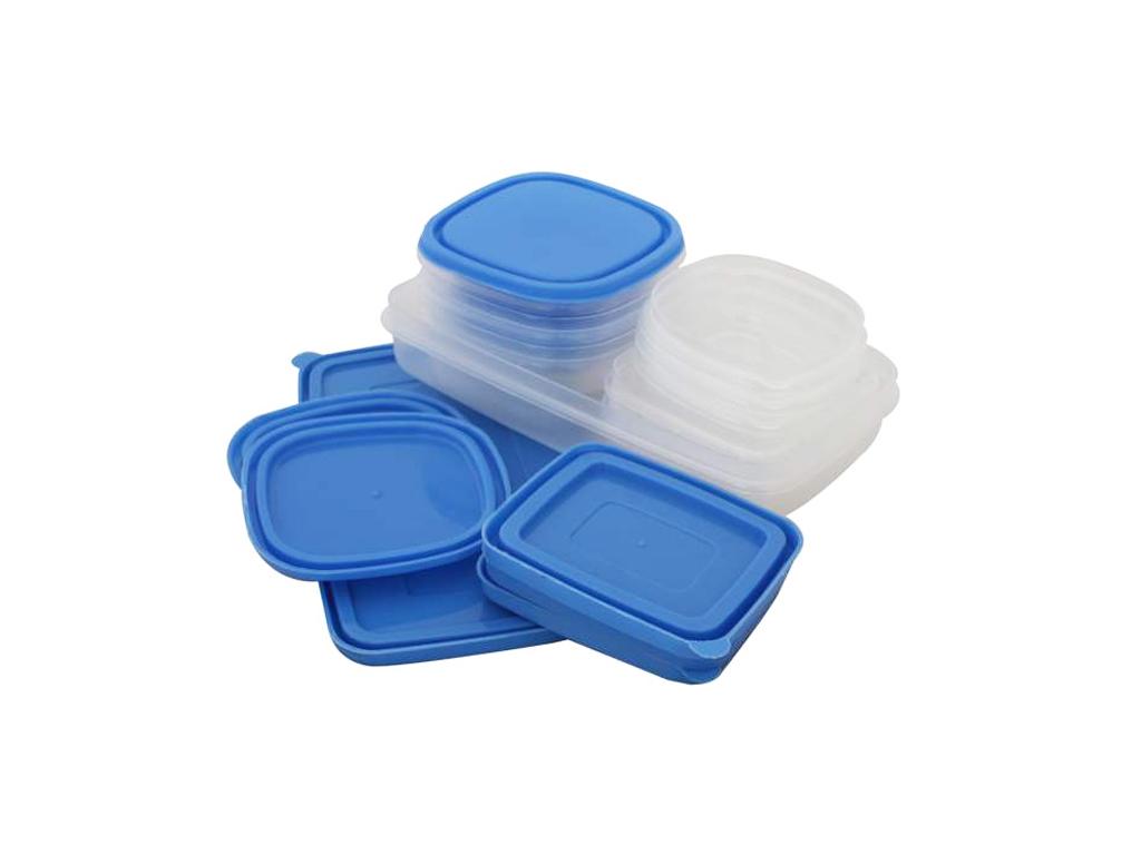 Σετ Πλαστικά Μπολ αποθήκευσης 20 τεμ. με Μπλε πλαστικά καπάκια, 106-100881 - Cb κουζίνα   τάπερ και μπολ αποθήκευσης τροφών
