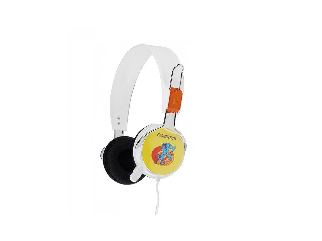 Flashtech Αναδιπλούμενα Στερεοφωνικά ακουστικά με Μικρόφωνο σε Λευκό χρώμα, FT-8 τεχνολογία   ακουστικά