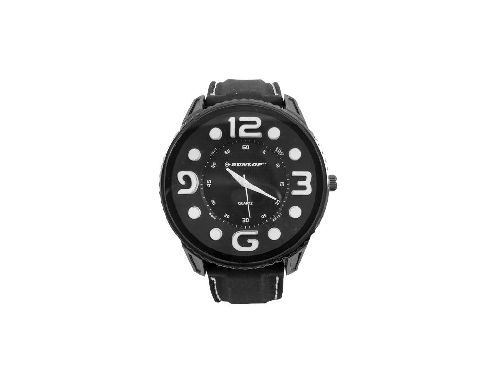 Dunlop Ρολόι Sport Unisex, ελβετικός μηχανισμός Quartz, Μαύρο με Λευκές ενδείξει