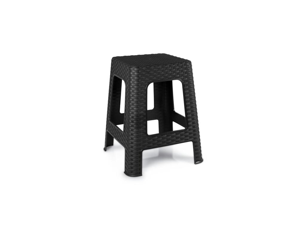 Schafer Σκαμπό Ρατάν 45x28cm σε Μαύρο χρώμα, 70548 - Schafer έπιπλα   πουφ και σκαμπό