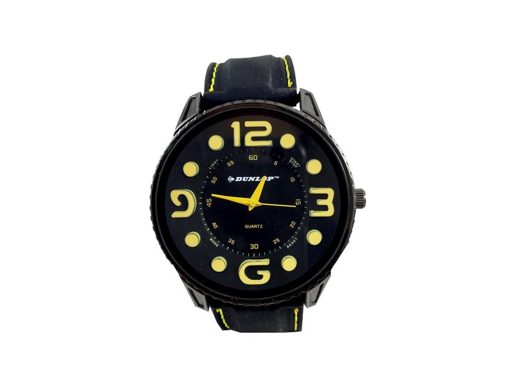 Dunlop Ρολόι Sport Unisex, ελβετικός μηχανισμός Quartz, Μαύρο με Κίτρινες ενδείξ ρολόγια χειρός   unisex ρολόγια χειρός