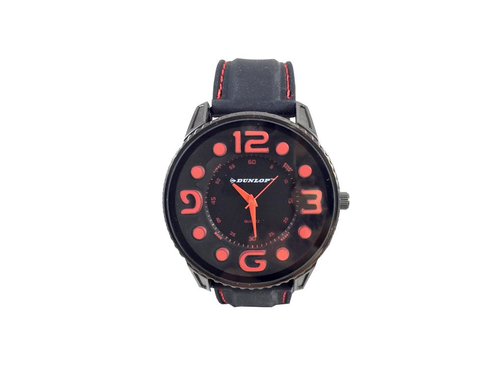 Dunlop Ρολόι Sport Unisex, ελβετικός μηχανισμός Quartz, Μαύρο με Κόκκινες ενδείξ ρολόγια χειρός   unisex ρολόγια χειρός