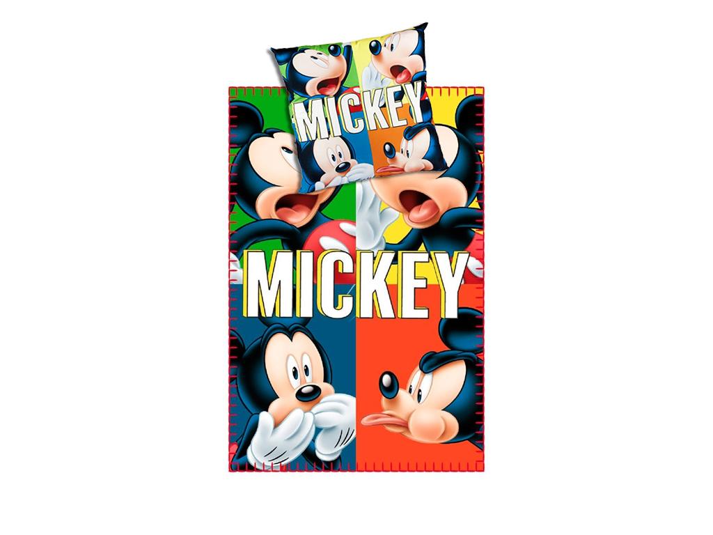 Σετ Μονή Κουβέρτα και Τετράγωνο Μαξιλάρι Mickey Mouse με πολλά χρώματα, V1300320 λευκά είδη   χαλιά και κουβέρτες