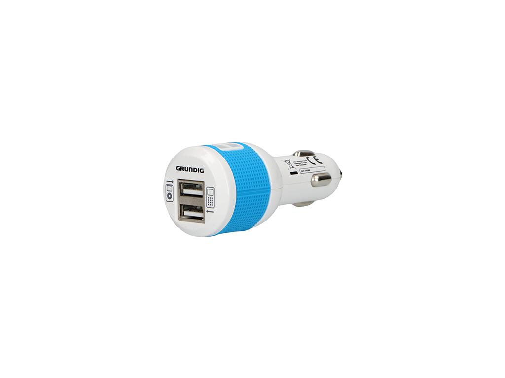 Grundig Φορτιστής Αυτοκινήτου USB Dual 2x1Α Ισχύος 12V με Φως, 86337 - Grundig A gps και είδη αυτοκινήτου   φορτιστές usb για το αυτοκίνητο